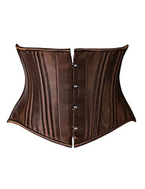 Sexy Brown Buttons Decorated Pure Color Corset