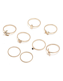 Fahion Gold Color Round Shape Decorated Rings