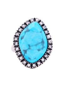 Fashion Blue Geometric Shape Decorated Ring