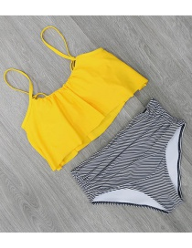 Sexy Yellow Stripe Pattern Decorated Swimwear(2pcs)