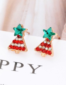 Elegant Multi-color Christmas Tree Shape Design Simple Earrings