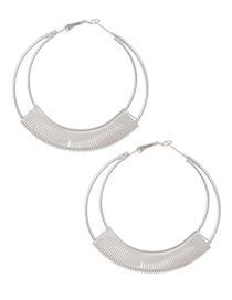 Elegant Silver Color Circular Ring Design Pure Color Earrings