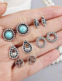 Fashion Silver Color Leaf Shape Decorated Earrings (12 Pcs )