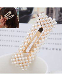 Fashion Gold (golden Bottom) Pearl Square Hairpin