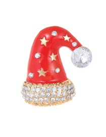 Fashion Red Christmas Hat Shape Decorated Brooch