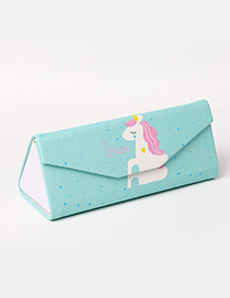 Fashion Blue Horse Pattern Decorated Glasses Case