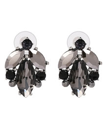 Fashion Gray Full Diaomond Decorated Earrings