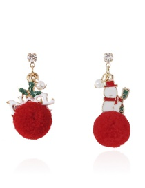 Fashion Red Fuzzy Ball Decorated Earrings