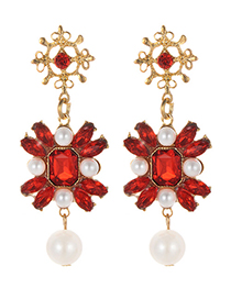 Fashion Red Pearl&diamond Decorated Earrings
