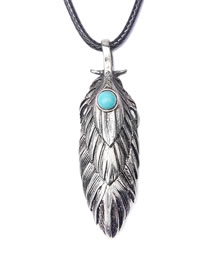 Fashion Silver Color Feather Shape Decorated Necklace