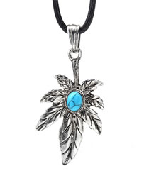 Fashion Silver Color Leaf Shape Decorated Necklace