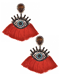 Fashion Red Eye Shape Design Tassel Earrings