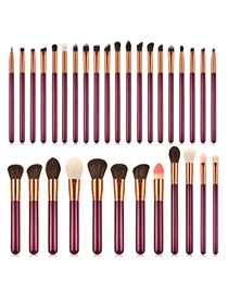 Fashion Claret Red Sector Shape Decorated Makeup Brush (32 Pcs)