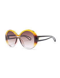 Fashion Yellow+brown Color Matching Design Sunglasses