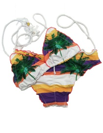 Sexy Multi-color Leaf Pattern Decorated Color-matching Swimwear