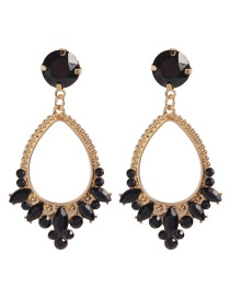 Fashion Black Alloy Diamond Drop Earrings