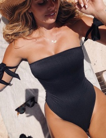 Ba?ador De Bikini De Color Sólido De Una Pieza.
