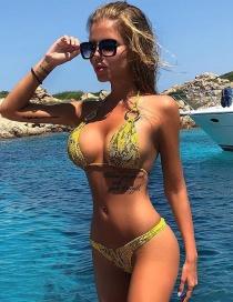 Fashion Yellow Snake Ring Bikini Straps Swimsuit Split