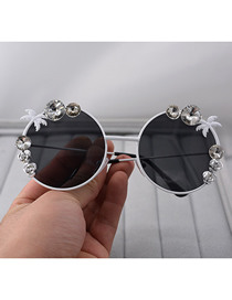 Fashion Black Flower Crystal Treasure Graphite Mirror Sunglasses