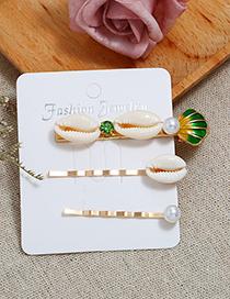 Fashion Green Conch Sea Shell Hair Clip Two-piece