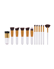 Fashion White 12 Packs - Five Big Five Small Fan-shaped Makeup Brushes