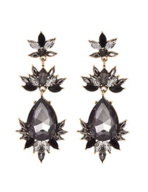 Fashion Black Alloy Diamond-drilled Drop-shaped Diamond Stud Earrings
