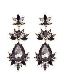 Fashion Black Alloy Diamond-drilled Drop-shaped Diamond Stud Earrings
