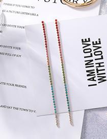 Fashion Color 925 Silver Needle Rainbow Gradient Color Diamond Chain Tassel Earrings