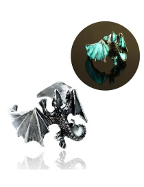 Fashion Ancient Silver + Blue Green Adjustable Luminous Lizard Men's Ring