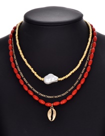 Fashion Color Alloy Beaded Pearl Resin Necklace Set Of 3