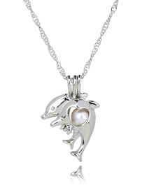 Fashion Dolphin Pearl Openwork Oyster Cage Necklace