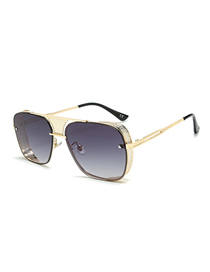 Fashion Gold Frame Double Ash Openwork Grid Box Sunglasses