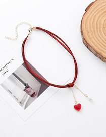 Fashion Red Pearl Love Velvet Necklace