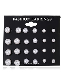 Fashion Silver Imitation Pearl Stud Earrings 12 Pairs