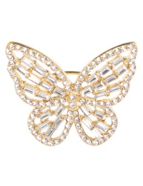Fashion Gold Alloy Openwork Butterfly And Diamond Ring