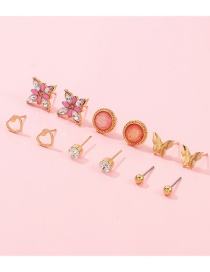 Fashion Gold Butterfly Love Flower Small Earring Set