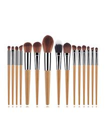 Fashion Wood Color 15 Sticks Wood Grain Makeup Brush