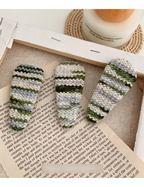 Fashion Water Drop - Rice Green Gradient Braided Geometric Hair Clip