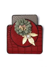 Fashion Red Flower Geometric Form Leather Brooch