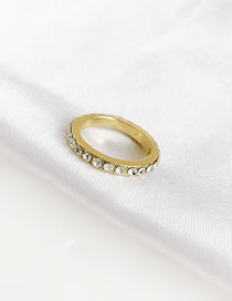 Fashion Gold Alloy Diamond Single Row Ring