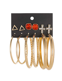 Fashion Red Large Circle Diamond Cross Triangle Geometric Earrings Set