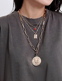 Fashion Golden Portrait Three-dimensional Geometric Love Contrast Color Multi-layer Embossed Necklace