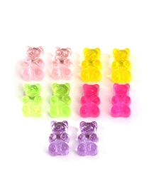 Set De Pendientes De Resina Transparente Bear