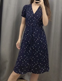 Fashion Tibetan Blue Floral Front Button-down V-neck Lace Dress