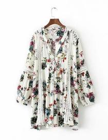 Fashion White Flower Print Cutout V-neck Dress