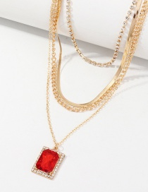 Fashion Red Multilayer Necklace With Diamonds And Rectangular Ruby ??pendants