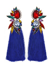 Fashion Royal Blue Alloy Rhinestone Water Drop Long Tassel Stud Earrings