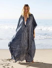 Vestido Largo Con Protector Solar A Rayas De Gasa