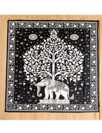 Fashion Black Printed Elephant Beach Towel