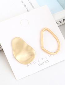 Fashion Dumb Gold Small Lotus Leaf Hollow Irregular Geometric Earrings